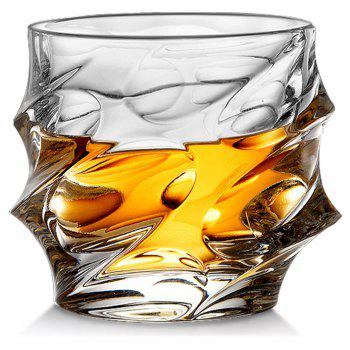 Cool Whiskey Glass Lead Free Wavy Shape Crystal Cup Drinkware for Brandy Vodaka - TRANSPARENT