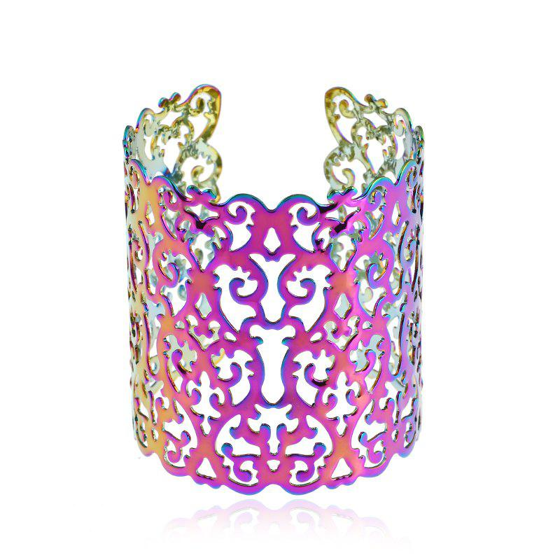 Metal Open Wide Hollow Carved Geometric Colorful Bracelet hollow carved joint ring