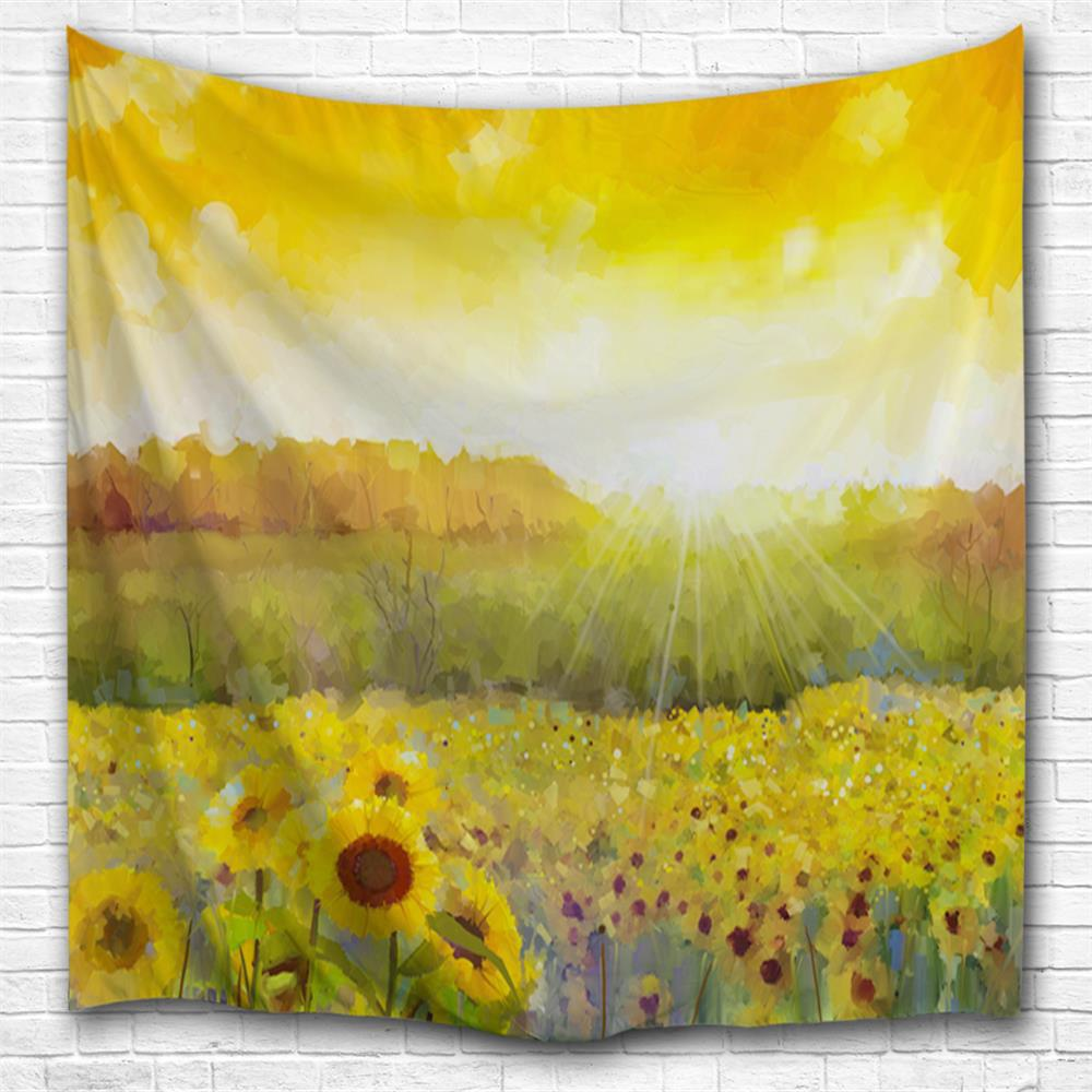 2018 Oil Painting Sunflower 3D Printing Home Wall Hanging Tapestry ...