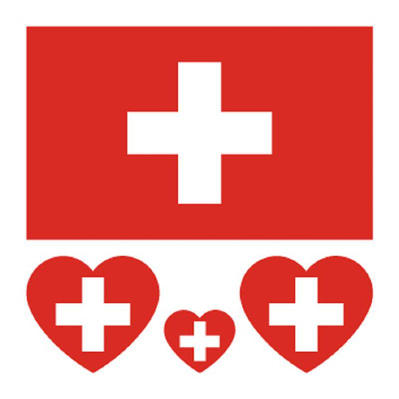 Soccer Swiss Flag Tattoo Body Sticker - multicolor