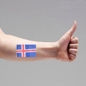 Football Iceland Flag Tattoo Body Stickers - multicolor