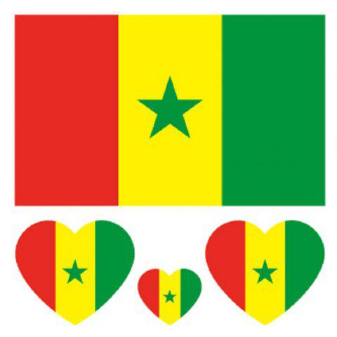 Soccer Senegalese Flag Tattoo Body Sticker - multicolor
