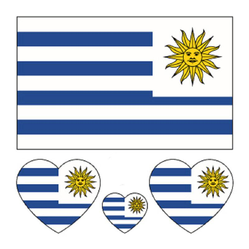 Football uruguay flag tattoo body sticker multicolor