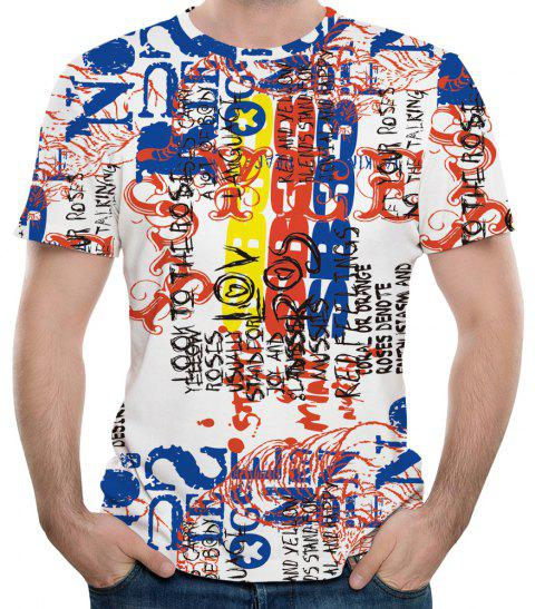 T-shirt à manches courtes 3D Summer Fashion New Coloré imprimé hommes - multicolor 6XL
