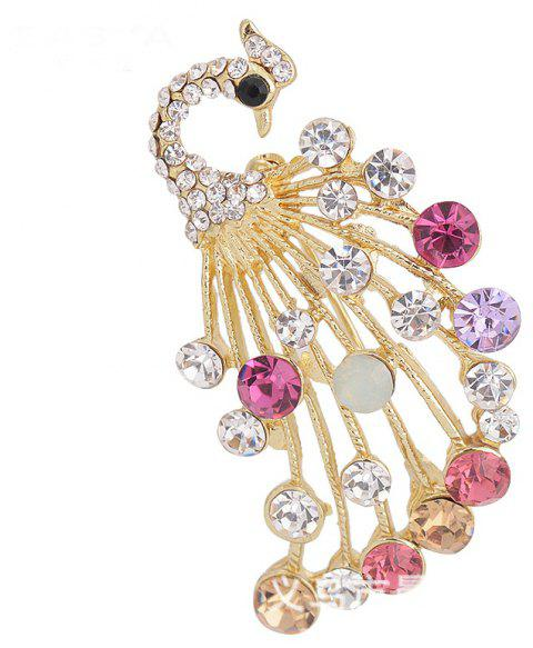 Elegant Peacock Shape Brooch Alloy and Rhinestone Clothes Decoration - multicolor
