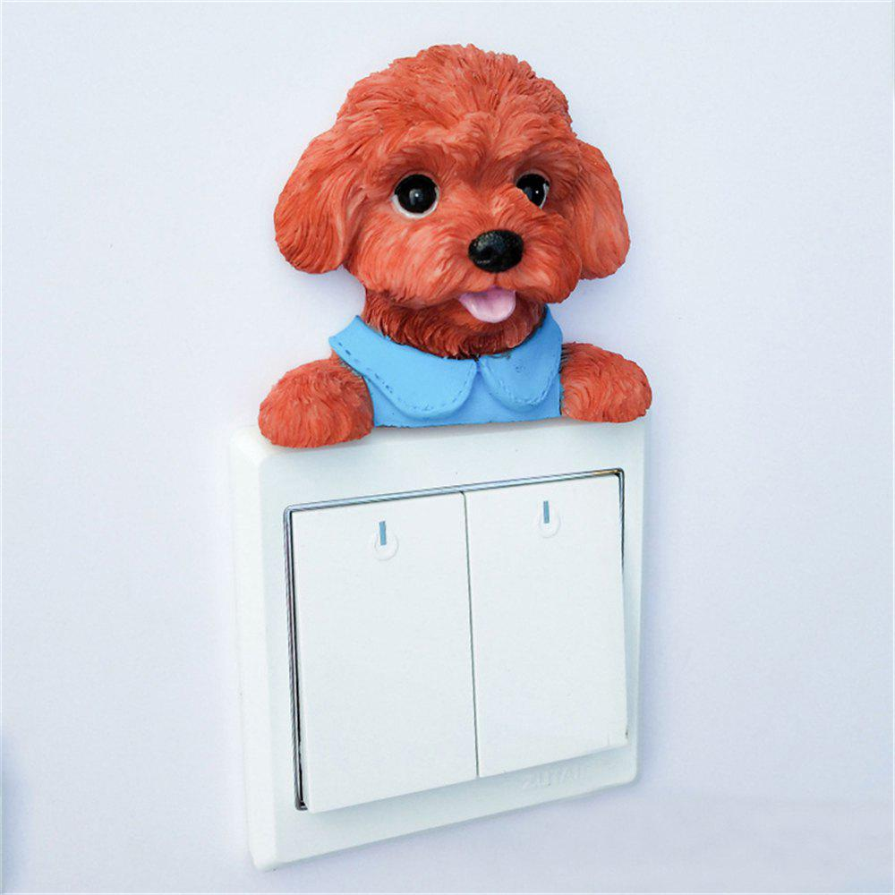 Cute Poodle Resin Switch Stickers Wall Decoration 25cm soft toy poodle pillow cartoon cute poodle dog plush toy fabric stitch stuffed plush dog animal toys for children gifts