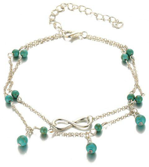 Mode Simple Multi-Layer Turquoise Pendentif Cheville - Argent