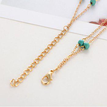 Fashion Simple Multi-Layer Turquoise Pendant Anklet - GOLD