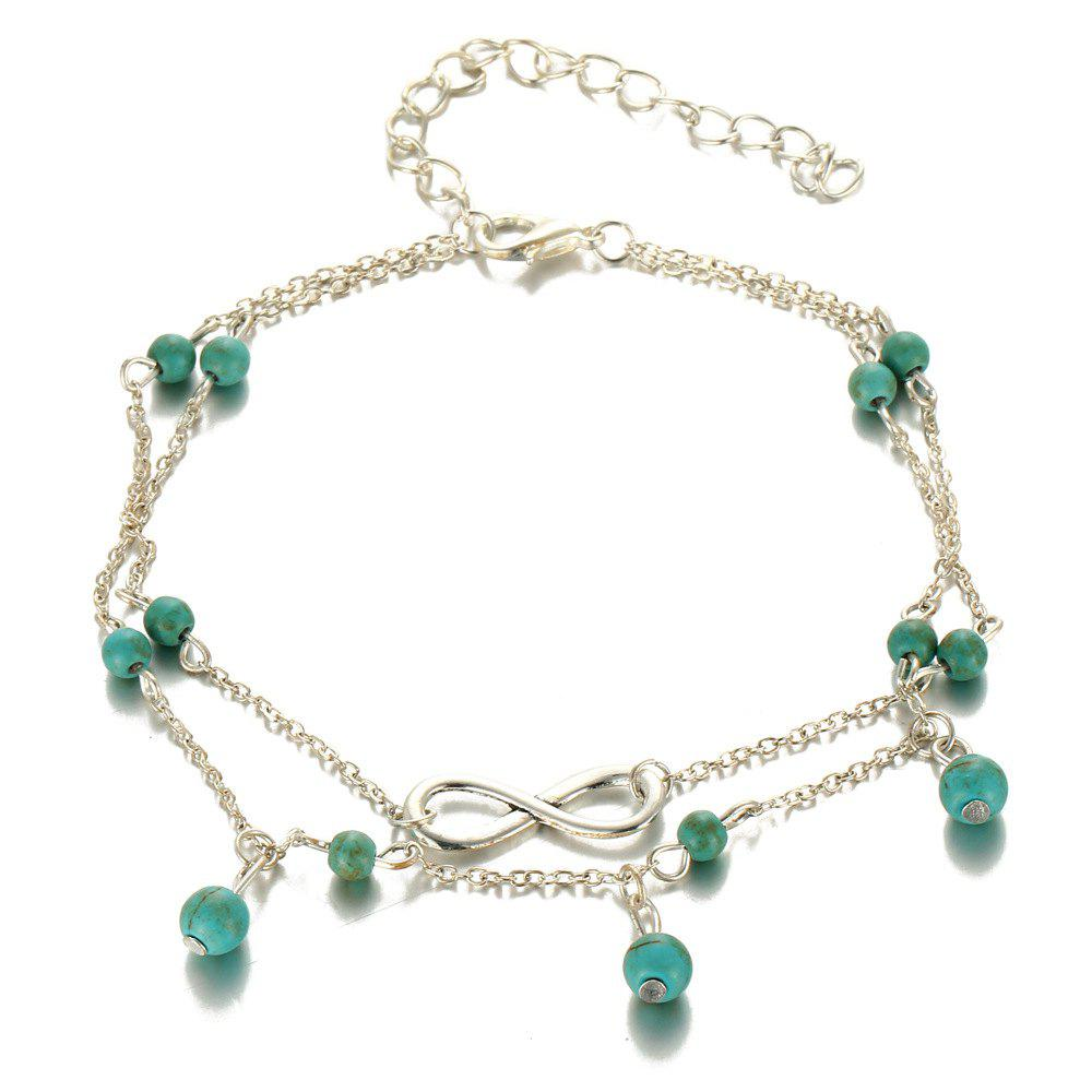 Fashion Simple Multi-Layer Turquoise Pendant Anklet turquoise beaded layered anklet