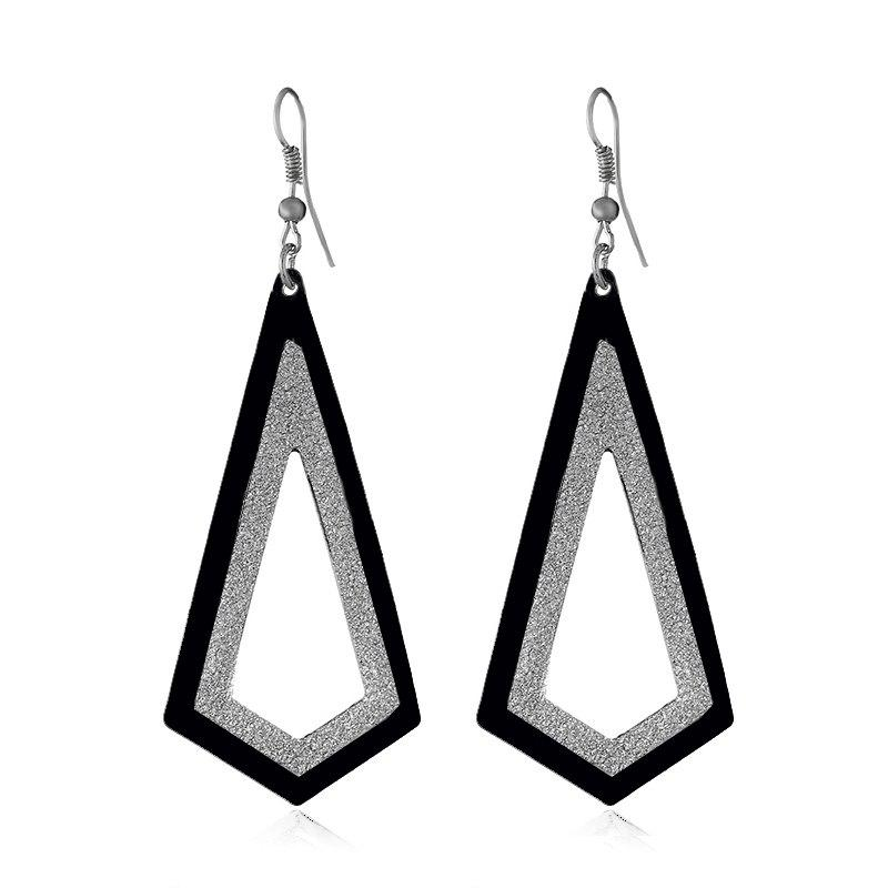 Fashion New Geometric Matte Hollow Metal Earrings faux opal geometric earrings