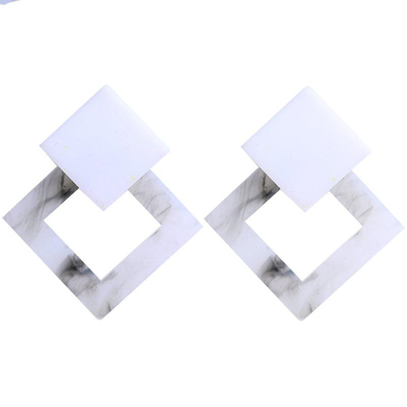 Geometric Hollow Square Eco Acetate Plate Earrings faux opal geometric earrings
