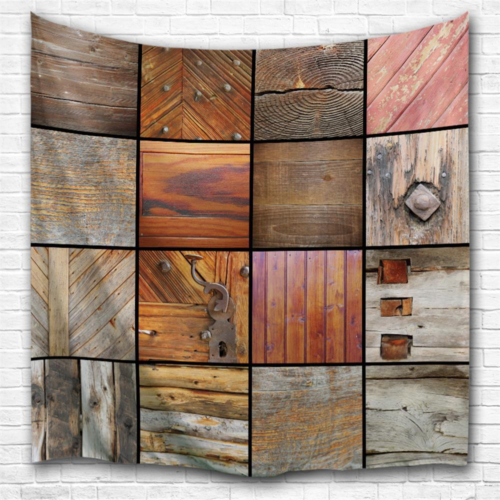 Wooden Texture 3D Printing Home Wall Hanging Tapestry for Decoration