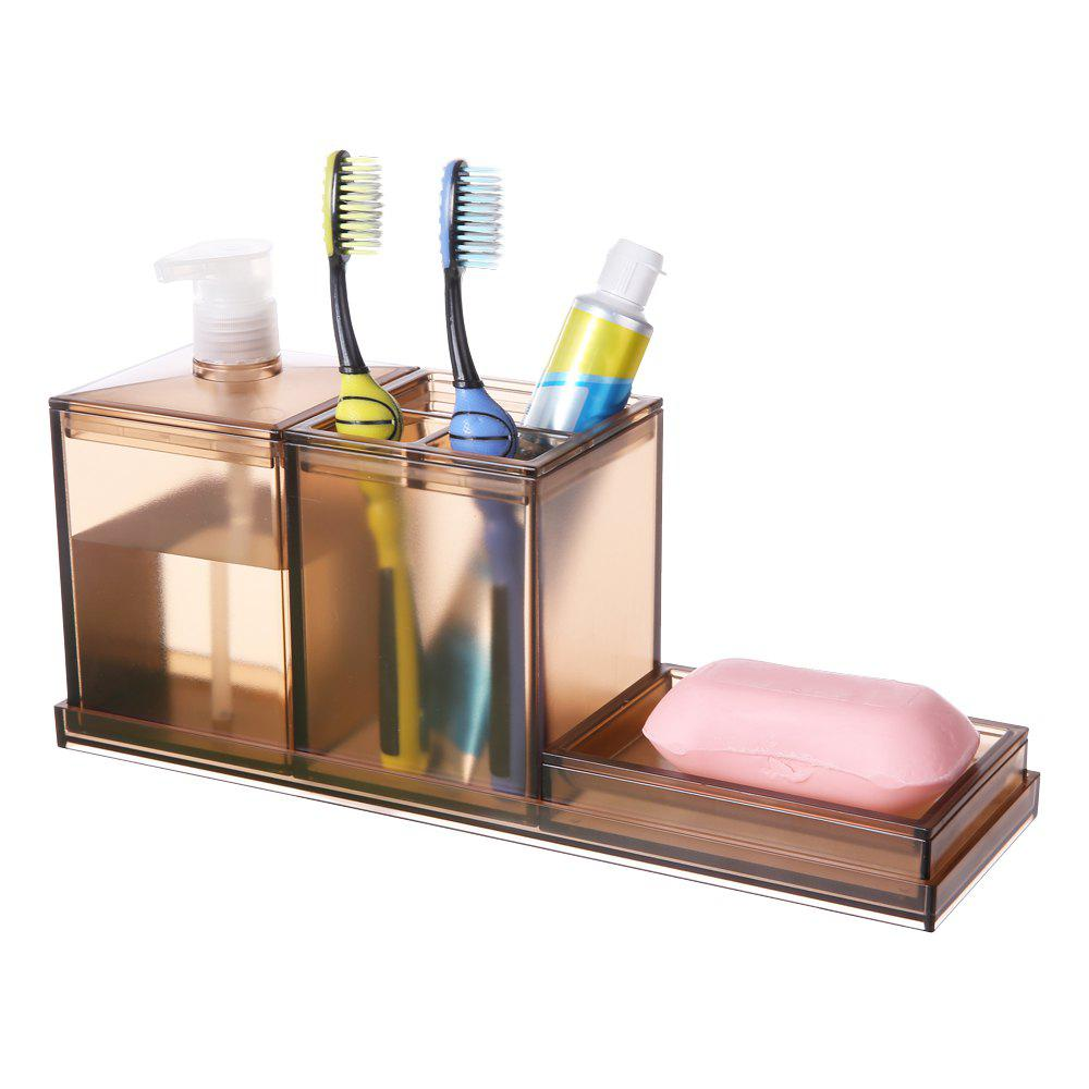 Creative Bathroom Toothbrush Case Lotion Soap Box Three Pieces - LIGHT BROWN 29X8.5X16.4CM