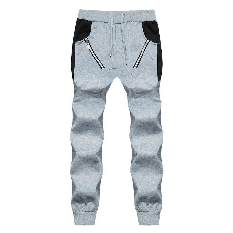 2018 New Men's Fashion Zipper Stitching Sports Pants Male Harem Casual Pants - LIGHT GRAY M