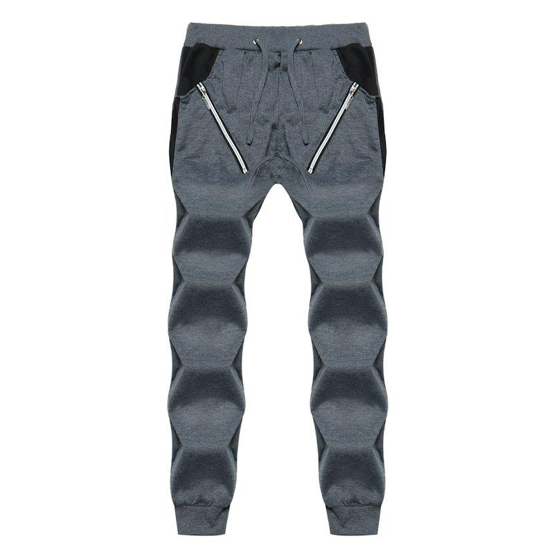 2018 New Men's Fashion Zipper Stitching Sports Pants Male Harem Casual Pants - DARK GRAY XL