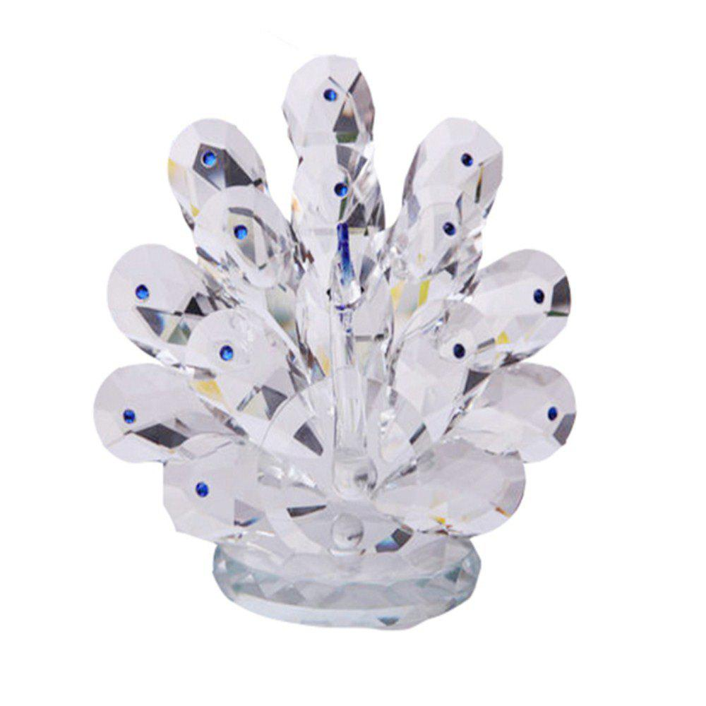 Home Exquisite Crystal Peacock  Decorative Crafts - BLUE DRESS