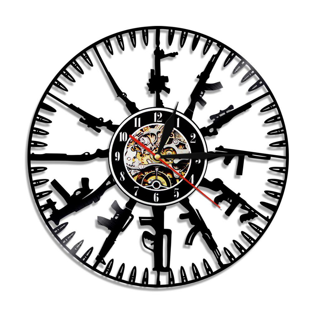 Vinyl Wall Clock Home Decal Modern Style - BLACK WITHOUT BATTERY