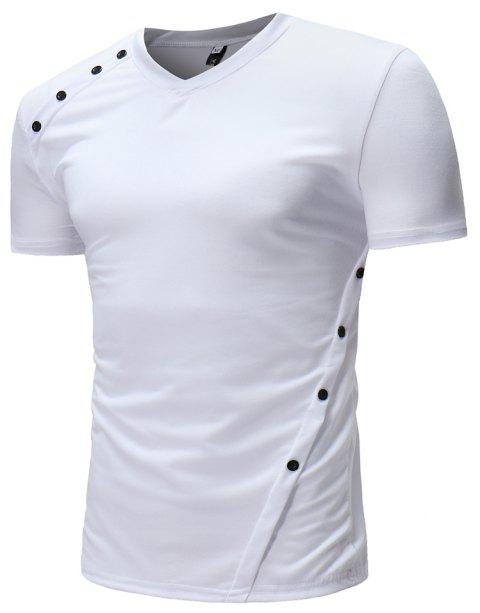 New  Men's Fashion Personalized Button Design Casual Short-Sleeved T-Shirts - WHITE L