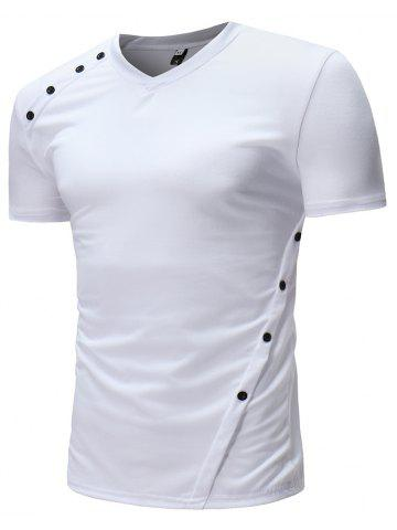25ea91f11af2 New Men s Fashion Personalized Button Design Casual Short-Sleeved T-Shirts