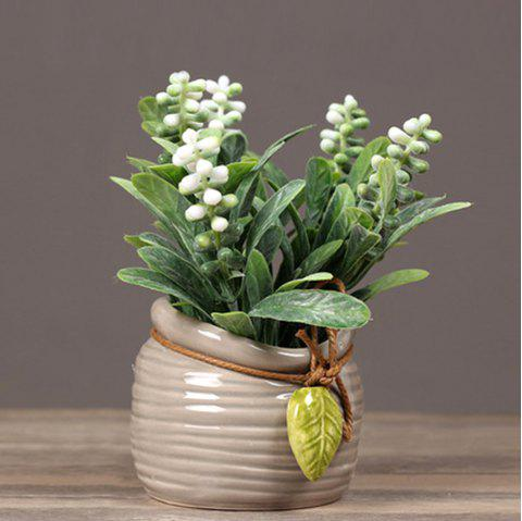 Pearl Grass Artificial Plant Potted - WHITE