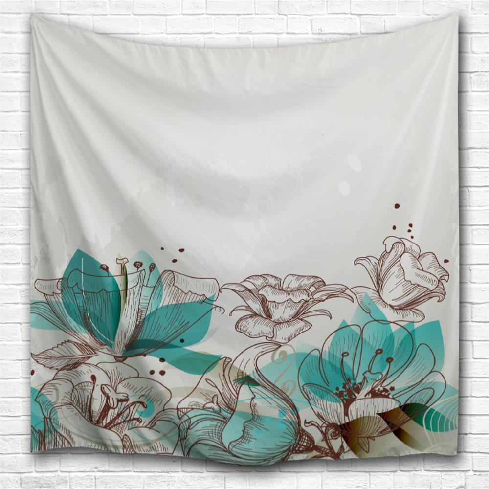 Cartoon Flowers 3D Printing Home Wall Hanging Tapestry for Decoration wedding photo backdrops white flowers hanging lights computer printing background gray wall murals backgrounds for photo studio