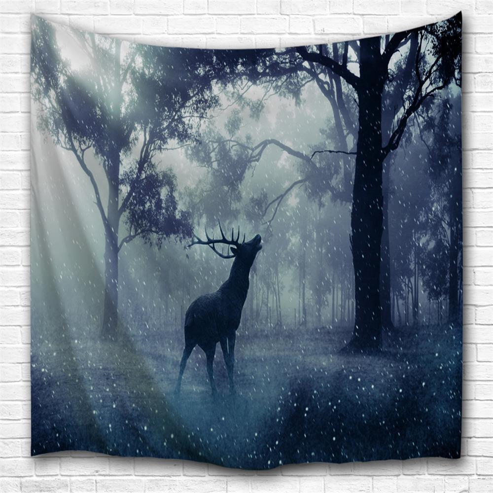 Forest Elk 3D Printing Home Wall Hanging Tapestry for Decoration