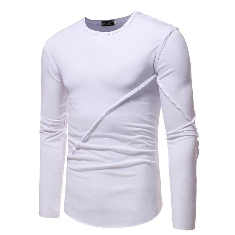 Simple Round Neck Stitching Solid Color Slim Long-Sleeved T-Shirt yellow floral stitching round neck long sleeves t shirt