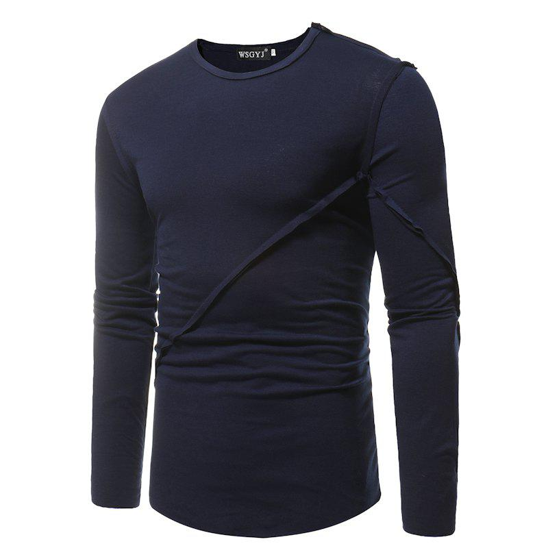 Simple Round Neck Stitching Solid Color Slim Long-Sleeved T-Shirt blue stripe color stitching round neck long sleeves t shirt