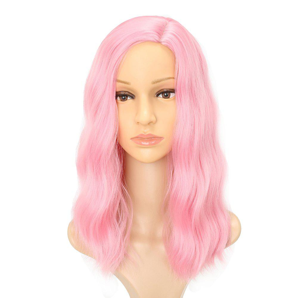 Fluffy Pink Charming Wavy Synthetic Long Hair Party Cosplay Wigs Middle Parting 2016 high temperature fiber women long brown curly wavy full wigs party synthetic hair cosplay wig