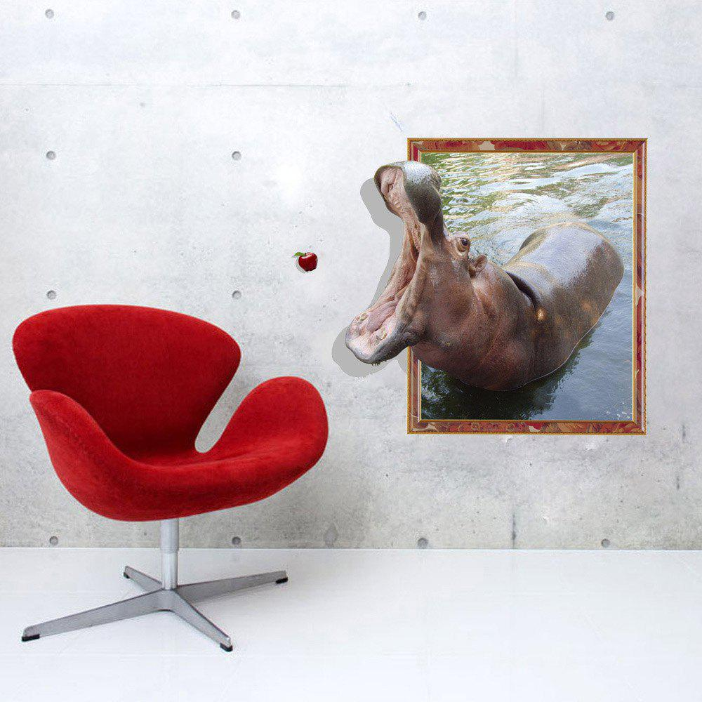 3D Hippo Personality Creative Removable Wall Sticker 3d polar bear personality creative removable wall sticker