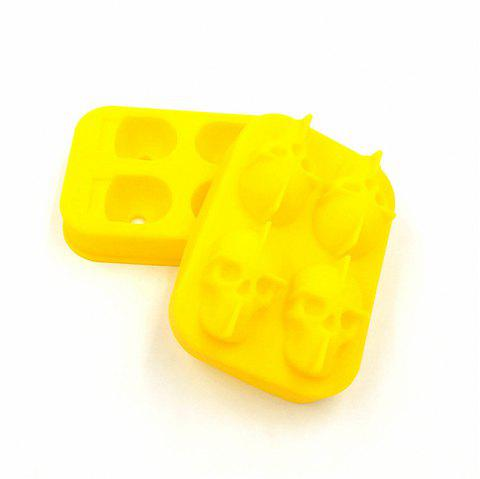 3D Skull Shape Ice Cube Mold Maker Bar Party Trays Food Grade Chocolate Mould - YELLOW