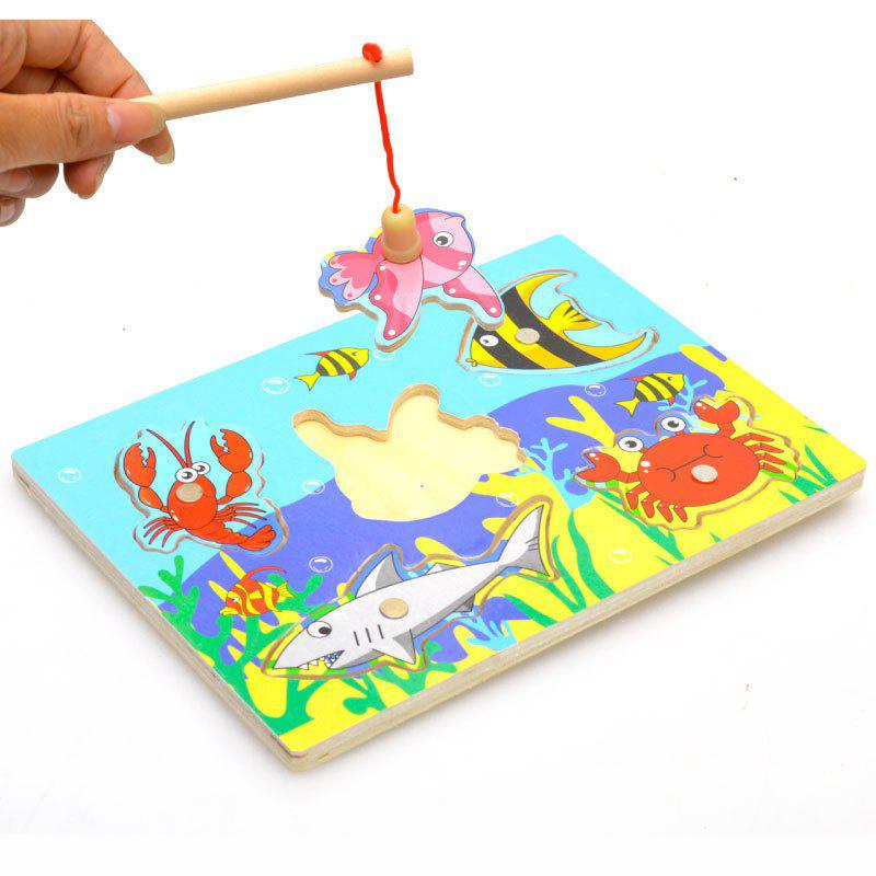 New Wooden Magnetic 3D Jigsaw Children Educational Fishing Puzzles Baby 1 piece baby wooden toys magnetic fishing game jigsaw puzzle board 3d jigsaw puzzle children education toy for children