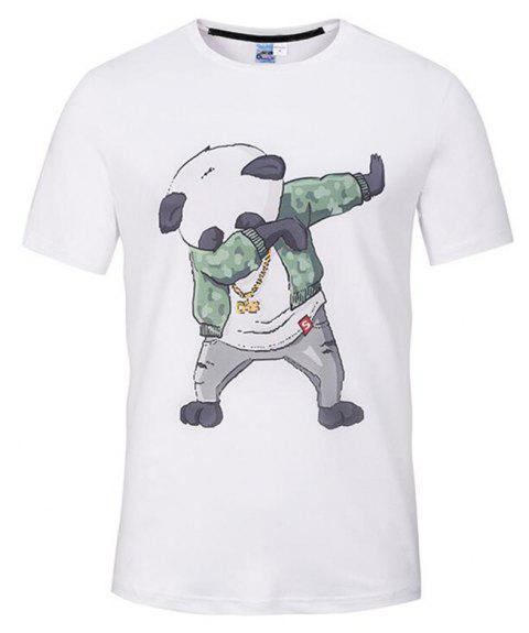 Men's Casual 3D Print Panda Round Neck Short Sleeves T-shirt - WHITE L