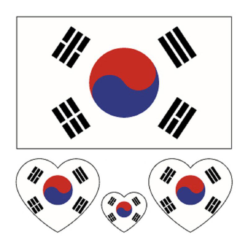 South Korea's National Flag Body Tattoo Stickers - multicolor