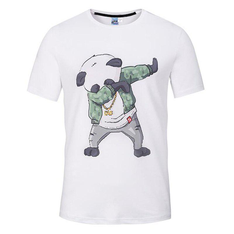 Men's Casual 3D Print Panda Round Neck Short Sleeves T-shirt - WHITE 2XL