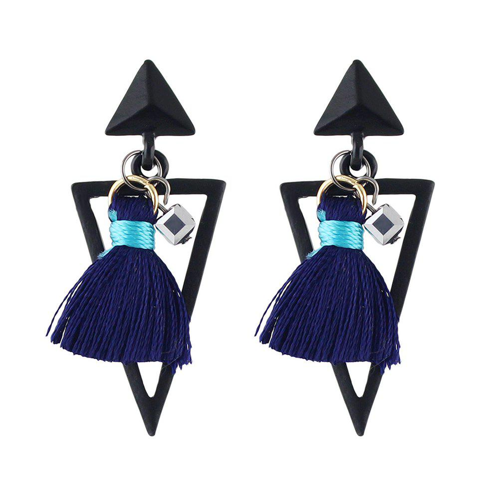 Geometric Triangle Statement Tassel Hanging Earrings faux opal geometric earrings
