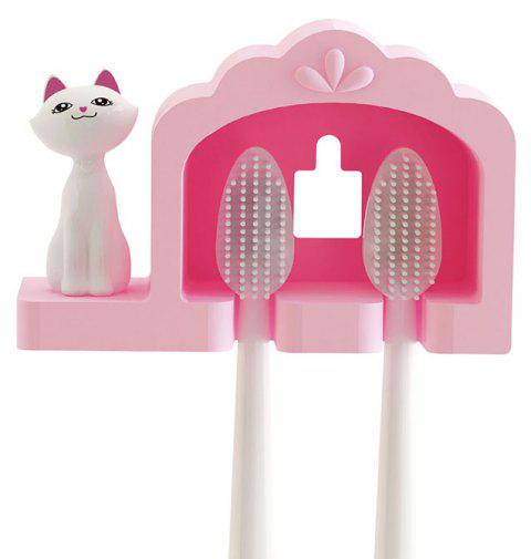 Bathroom Amenity Cute Cat Couple Toothbrush Holder Rack - PINK