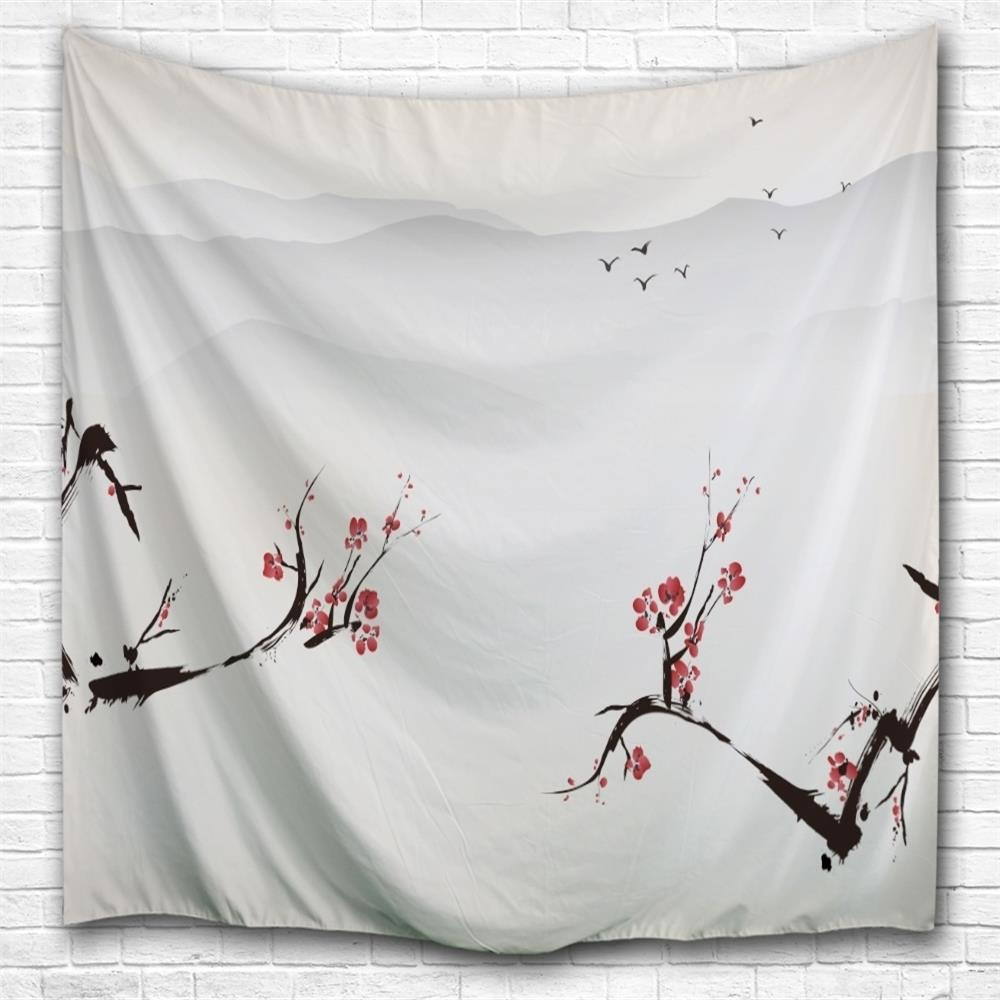 Chinese Painting Flowers 3D Printing Home Wall Hanging Tapestry for Decoration wedding photo backdrops white flowers hanging lights computer printing background gray wall murals backgrounds for photo studio