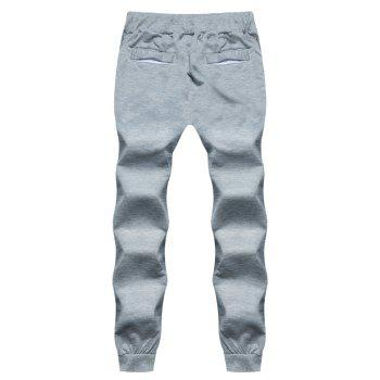 2018 New Men's Fashion Solid Color Rope Elastic Waist Casual Pants - LIGHT GRAY M