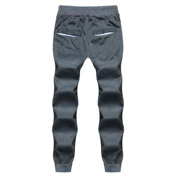 2018 New Men's Fashion Solid Color Rope Elastic Waist Casual Pants - DARK GRAY M