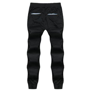 2018 New Men's Fashion Solid Color Rope Elastic Waist Casual Pants - BLACK M