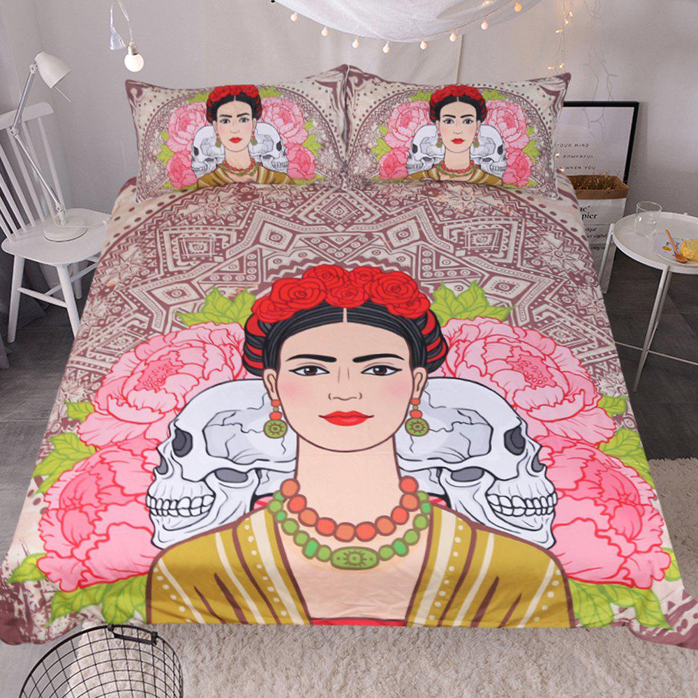 Woman Portrait  Bedding Duvet Cover Set Digital Print 3pcs - multicolor QUEEN