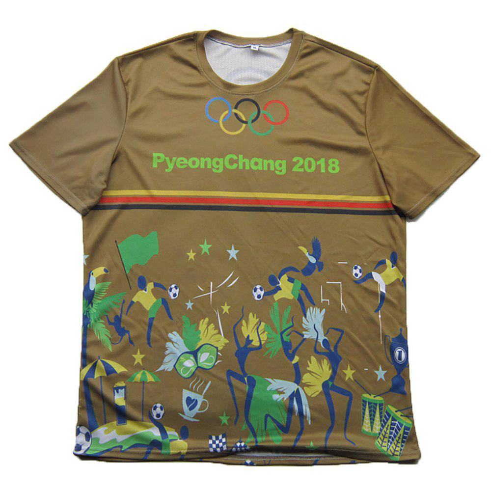 2018 Pyeongchang Olympics Theme Print Fashion Summer Short Sleeve Men's T-shirt curling men s round robin pyeongchang 2018 winter olympics 18 02 09 05h