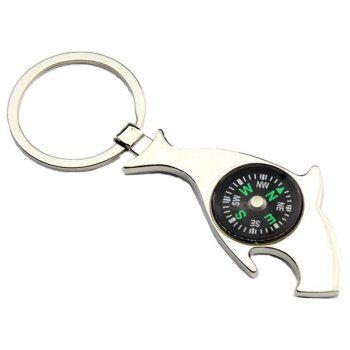 Creative Cartoon Dolphin Compass Key Chain Practical Bottle Opener - SILVER