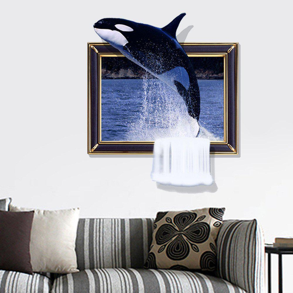 3D Whale Personality Creative Removable Wall Sticker 3d polar bear personality creative removable wall sticker