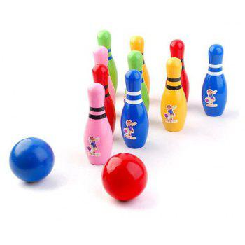 Outdoor Children Wooden Bowling Interesting Toys - multicolor A