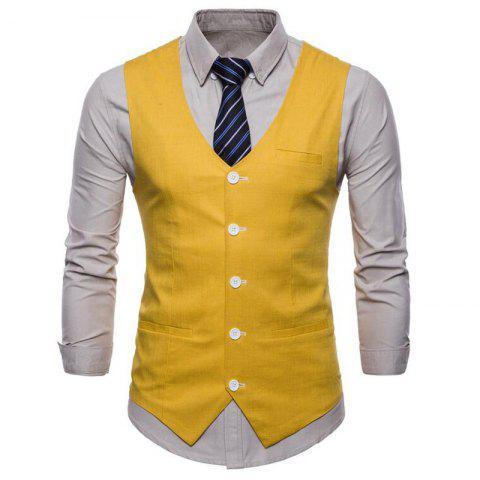 Plus Size Men Pure Color Cotton Suit Vest - YELLOW L