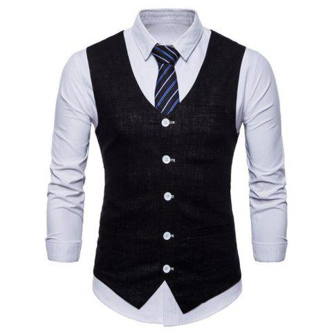 Plus Size Men Pure Color Cotton Suit Vest - BLACK 4XL
