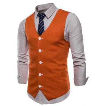 Men Pure Color Cotton Suit Vest - ORANGE 3XL