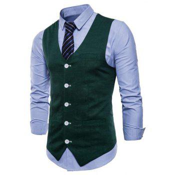Men Pure Color Cotton Suit Vest - DARK FOREST GREEN 4XL